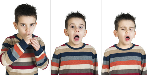 Children who cough. White isolated studio shots.