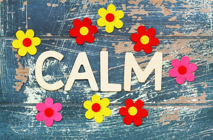 Word calm written with wooden letters on rustic surface and colorful flowers